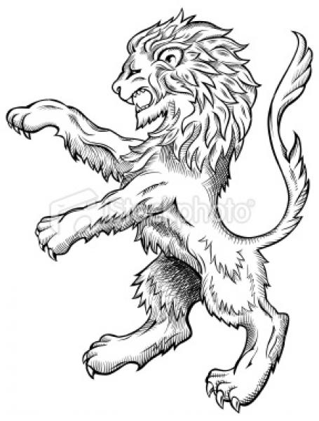 Medieval Lion Crest Colouring Pages